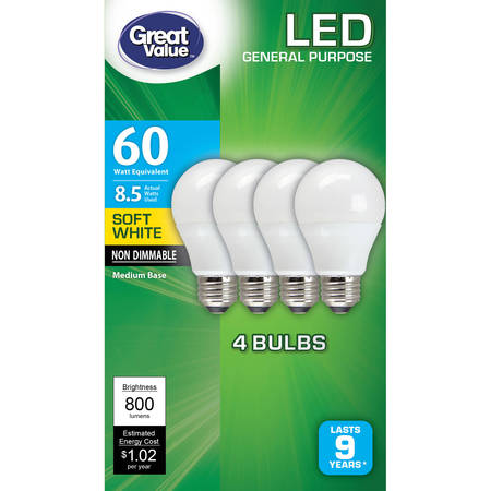 Light Bulb Collection - Great Value LED Light Bulb, 8.5W (60W Equivalent), A19 Lamp E26 Medium Base, Non-Dimmable, Soft White, 4-Pack
