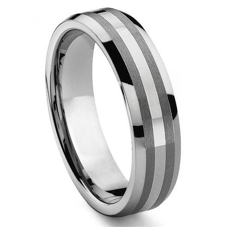 6MM Tungsten Carbide 14K White Gold Inlay Wedding Band Ring Sz -