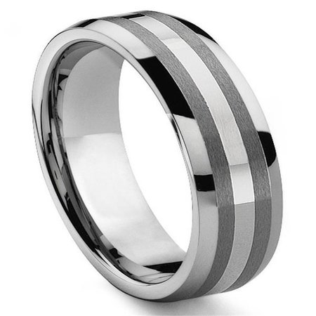 6MM Tungsten Carbide 14K White Gold Inlay Wedding Band Ring Sz (14k Gold Inlay Rings Bands)