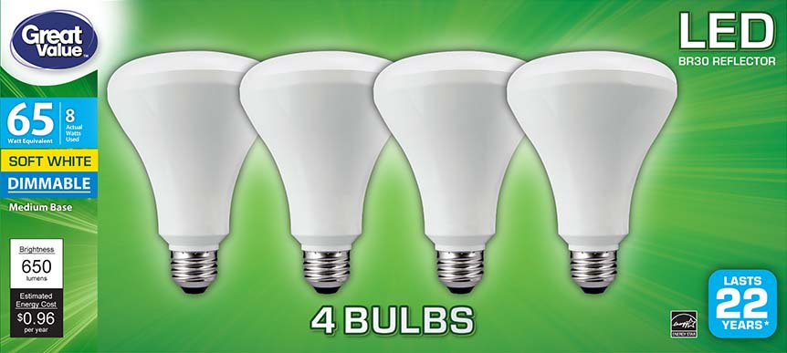 Great Value LED Light Bulb, 8W (65W Equivalent) BR30, Dimmable, Soft White, 4-Pack - Led Lights Bulk