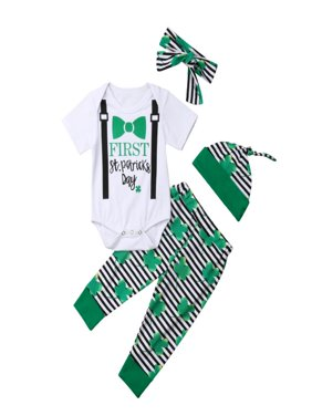 4Pcs Newborn Baby My 1st St. Patrick's Day Romper Pant Hat Headband Pant Sets for Toddler Girl Boy Cotton Outfit