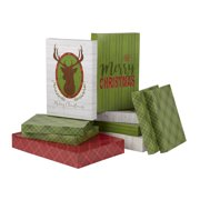 Holiday Time Merry Christmas Antler Printed Gift Boxes, Assorted Sizes, 10 Pack