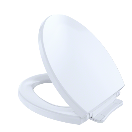 - TOTO® SoftClose®Non Slamming, Slow Close Round Toilet Seat and Lid,Cotton White - SS113#01