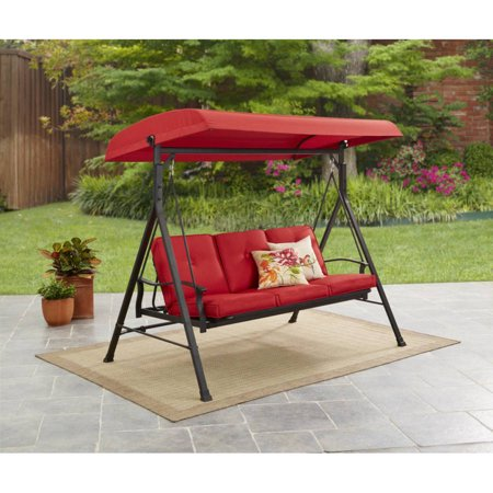 Mainstays Belden Park 3 Person Canopy Porch Swing Bed Red