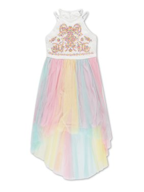 Embroidered Rainbow Tulle H-Lo Occasion Dress (Big Girls)