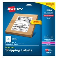 "Avery Internet Shipping Labels, TrueBlock Technology, Permanent Adhesive, 5-1/2"" x 8-1/2"", 20 Labels (18126)"