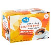 Great Value 100% Arabica Breakfast Blend Coffee Pods, Medium Roast, 12 Count