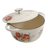 The Pioneer Woman Timeless Beauty Vintage Enameled Cast Iron 3 Quart Floral Casserole Dish with Lid, 1 Each