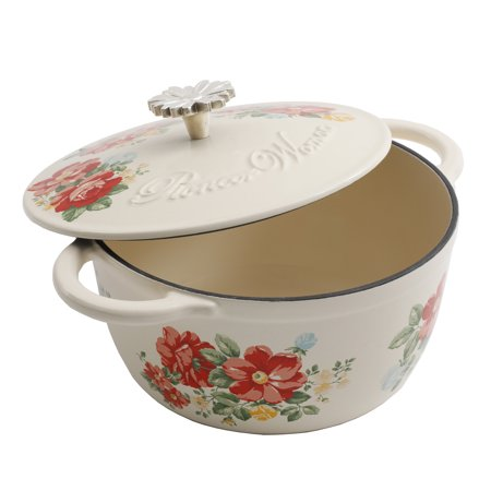 Cast Iron Service Sink - The Pioneer Woman Timeless Beauty Vintage Enameled Cast Iron 3 Quart Floral Casserole Dish with Lid