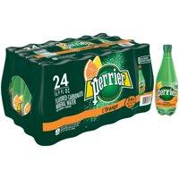 (24 Bottles) PERRIER L'Orange Flavored Carbonated Mineral Water, 16.9 Fl Oz