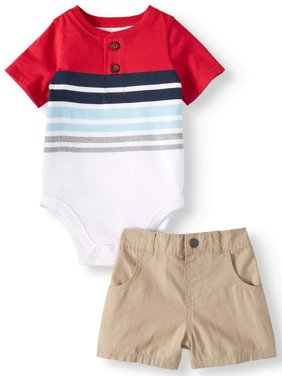 Striped Henley Bodysuit & Woven Shorts, 2pc Outfit Set (Baby Boys)