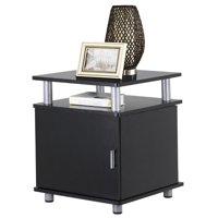 Yaheetech Black Wood End Tables Bedroom Nightstands Bedside Storage Cabinet with Door and Shelf