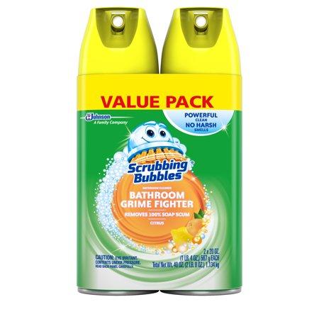Scrubbing Bubbles Bathroom Cleaner (Scrubbing Bubbles Bathroom Grime Fighter Aerosol, Citrus, 20 oz, 2 count)