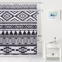 Mainstays Black and White Aztec Coordinating Fabric Shower Curtain