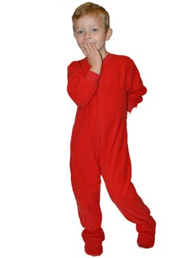 Big Feet PJs Little Boys Infant Toddler Red Fleece Footed Pajamas Sleeper