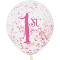 "12"" Pink and Gold Girl's First Birthday Confetti Balloons, 6ct"
