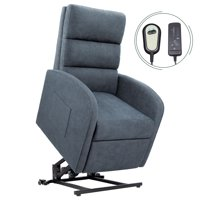 Walnew Slim Power Lift Recliner with Massage, Remote Control and Huge Pocket (Blue Fabric)