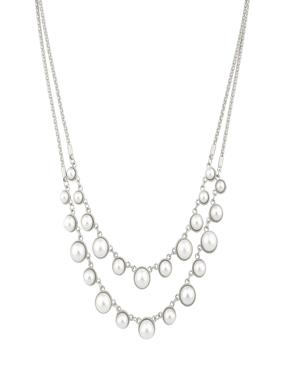 Lux Accessories Faux Pearl Multi Rox Statement Bridal Necklace.