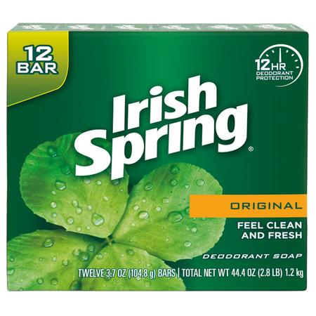 - Irish Spring Original, Deodorant Bar Soap, 3.7 Ounce, 12 Bar Pack