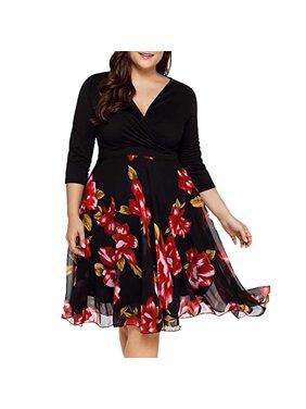 1311f0d5b9f Product Image Women Elegant Slim Top Big Swing Print Chiffon Skirt Maxi  Dresses Plus Size. Viugreum