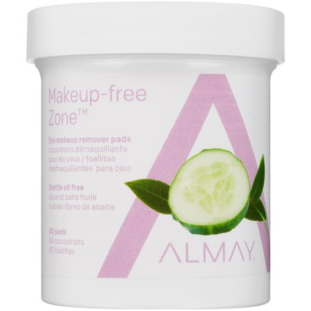 (2 pack) Almay oil free gentle eye makeup remover pads 80 ct jar ()