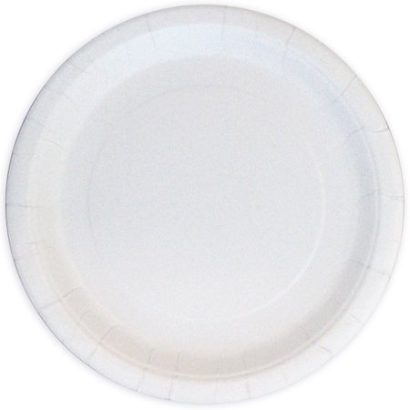 Round Paper Plates, 7 in, White, 24ct (Solid Color Paper Plates)