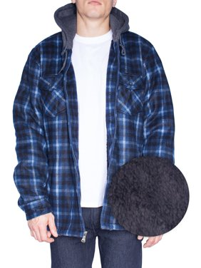 Hoodie Flannel Fleece Jacket For Men Zip Up Big & Tall Lined Sherpa Sweat Shirts (Large,Blue/White/Black)