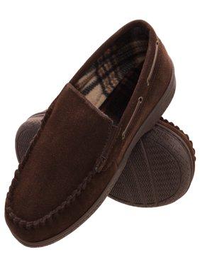 heat edge mens memory foam suede slip on indoor outdoor venetian moccasin slipper shoe