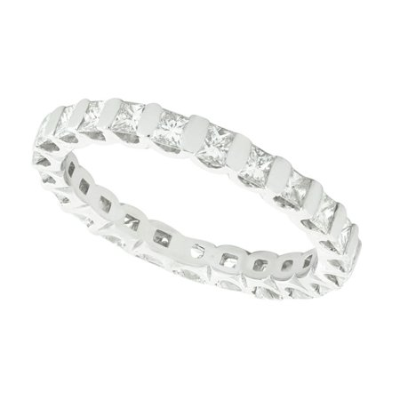 Natural 1.50Ct Princess Cut Diamond Bar Set Women's Anniversary Wedding Eternity Band Ring Solid 10k White Gold I SI2