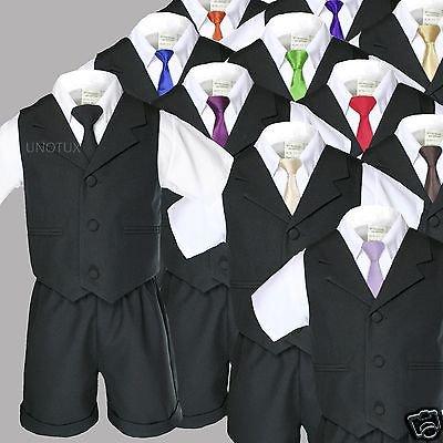 Black Boy Infant Toddler Formal Vest Shorts Suit Extra Necktie S M L XL 2T 3T 4T](Size 2t 3t)