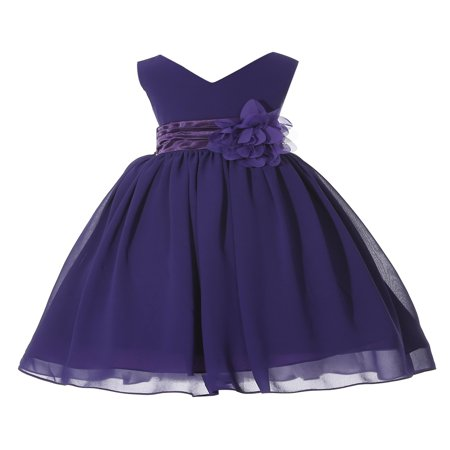Ekidsbridal Formal V-Neck Yoryu Chiffon Flower Girl Dress Bridesmaid Wedding Pageant Toddler Easter Holiday Spring Summer Recital Communion Birthday Baptism Special Occasions 503NF - Cute Holiday Dresses For Girls