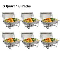 Zimtown (Pack of 6) 8 Quart Full Size Chafing Dishes Buffet, Food Grade Stainless Steel, Catering Chafer Warmer Set for for Weddings Parties Banquets Catering Events