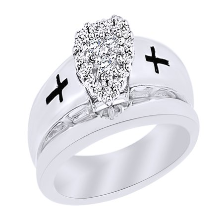 Round Cut White Natural Diamond Heart Cross Bridal Set Ring in 14k White Gold Over Sterling Silver (0.2 - Bridal Cross