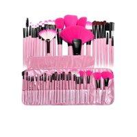 24pcs Makeup Brush Set Kit + Cosmetic Makeup Case Pouch Bag by Zodaca, Pink
