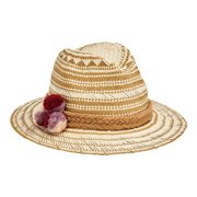 f042f45639383d Women's San Diego Hat Company Fedora with Paper Pattern and Triple Poms  PBF7320 Natural One Size