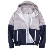 714811019e3 LELINTA Mens Zipper Jacket Casual Hip Hop Windbreaker Sporting Hooded  Comfortable Coat Grey Green Color