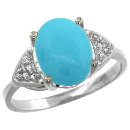 Natural Sleeping Beauty Turquoise (14k White Gold Natural Diamond Sleeping Beauty Turquoise Engagement Ring Oval 10x8mm, size 5 )
