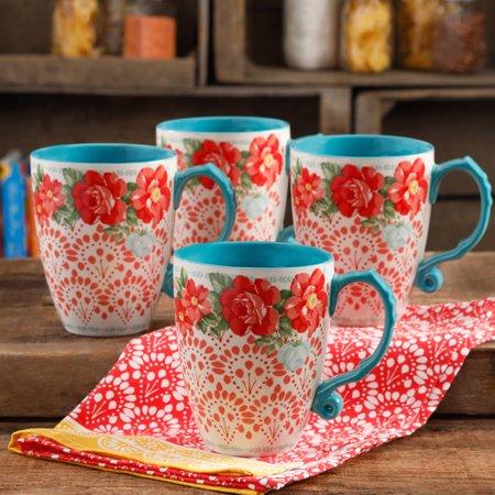 The Pioneer Woman Vintage Floral 26 Ounce Jumbo Latte Mug Set Set