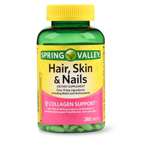 Spring Valley Hair, Skin & Nails Caplets with Biotin & Antioxidants, 3000 mcg, 240 (Foods Good For Your Hair Skin And Nails)