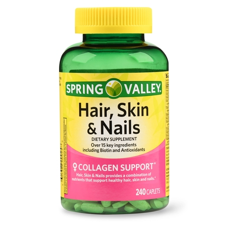 Spring Valley Hair, Skin & Nails Caplets with Biotin & Antioxidants, 3000 mcg, 240 Ct ()