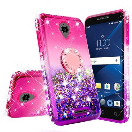 Alcatel TCL LX (A502DL) Case,Alcatel 1X Evolve Case, Alcatel IdealXTRA Case,Ring Stand Glitter Liquid Quicksand Waterfall Floating SparkleBling Diamond Girls Cute Case - Hot Pink/Blue ()
