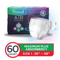 Prevail Air Maximum Plus Absorbency Stretchable Incontinence Briefs / Adult Diapers, Size 1, 60 Count