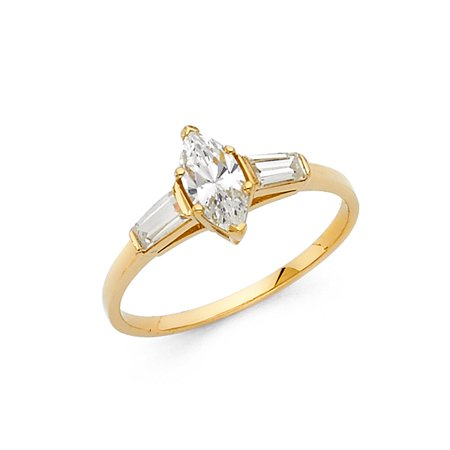 Jewels By Lux 14K Yellow Gold Marquise Shaped Cubic Zirconia CZ Engagement Ring Size 5.5