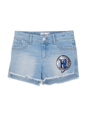Embellished Fray Hem Denim Short (Little Girls & Big Girls)