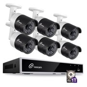 Loocam 720P 8-Channel HD Video Security Camera System CCTV DVR Kit and 6pcs 1.0MP 1280TVL Indoor/Outdoor IR Weartherproof Camera 120FT Night Vision with IR Cut(1TB)