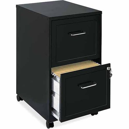 Homestyles 2 Drawer Cabinet - Lorell 2 Drawers Steel Vertical Lockable Filing Cabinet, Black