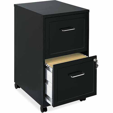 - Lorell 2 Drawers Steel Vertical Lockable Filing Cabinet, Black
