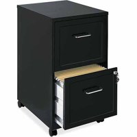 Lorell 2 Drawers Steel Vertical Lockable Filing Cabinet, Black