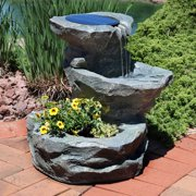 Sunnydaze Solar Garden Outdoor Water Fountain With Planter 19 Inches Includes Pump And