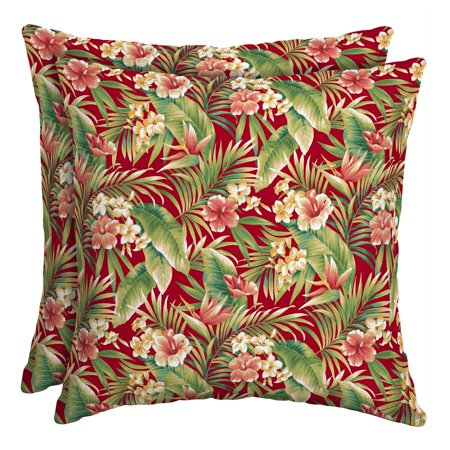 Mainstays 16 x 16 in. Red Tropical Outdoor Toss Pillow - Set of 2